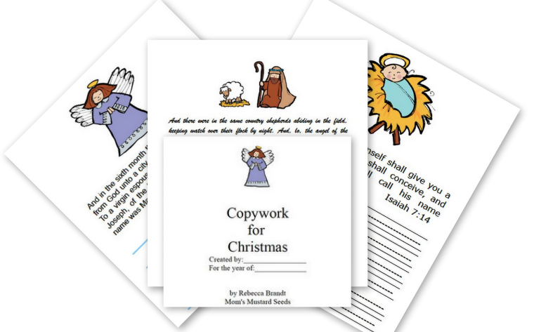 Christmas Story copywork with manuscript, cursive and lined for early writers.