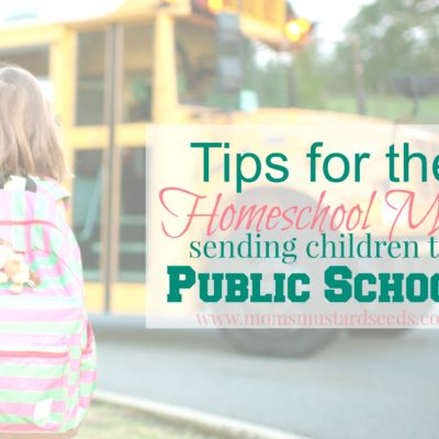 Tips for Homeschool Moms Sending Children to Public School